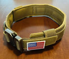 USA Military Tactical Khaki Handle Adjustable Training Dog Collar With Flag Tan