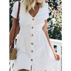 Women Summer Short Sleeve A Line V Neck Button Mini Dress Casual Short Sundress