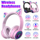 LED Kids Girls Wired Wireless Headphones Cat Rabbit Ear Headsets w/Mic Earphone