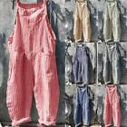 Womens Cotton Linen Dungarees Jumpsuits Trousers Ladies Playsuit Long Pants