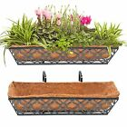 """24"""" Window Boxes Horse Trough with 2pcs 24 Inch Window Deck with Coco Liner"""