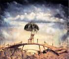 129.Art poster.Chair in old bridge with umbrella.Surrealism design painting art