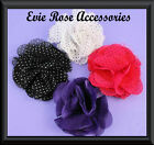 NEW POLKA DOT CHIFFON NET ROSE FLOWER CORSAGE HAIR CLIP