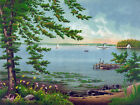 3324 Nature Vintage POSTER.Powerful Graphic Design. Boats on river. Art Decor