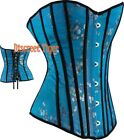 Overbust Corset Top Oriental Inspired Blue Black Pretty Asian Flowers DTS00566