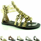 LADIES FLAT GLADIATOR SANDALS STRAPPY SHOES SIZES 3-8