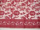"Tablecloth Silk Zuzka Fabricology Designer Floral Silk 45""x46""  MSRP $50 RED"