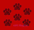 6 BLACK PAW PRINT RHINESTONE IRON ON TRANSFER HOT FIX