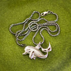 "Solid Silver Greek Dolphin Charm Necklace W/18"" Chain"