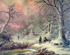 3861 Winter Hunt VIntage Poster. Snow Art Decorative.Home interior design