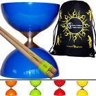 "Diabolo Set ""Rubber Top"" & Wooden Diabolos Sticks & Diablo String + Bag"