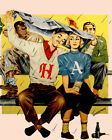 1639 Couple under the rain at baseball game. POSTER. Sports Decorative Art.