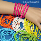 SET OF 7 BRIGHT COLOUR ELASTICATED STRETCHY BEAD BRACELETS BLUE GREEN PINK WHITE
