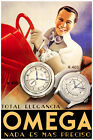 2340.Omega elegancy watch Early car racer Poster.Room Home Interior design wall