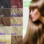 Full head clip in 100% real human hair extensions Brown Blonde Black 120g