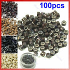 Lot of 100 pcs Micro Ring Feather Hair Extensions Crimp Beads Silicone
