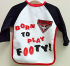 ESSENDON BOMBERS OFFICIAL AFL BABY'S BORN TO PLAY FOOTY LONG SLEEVE BIB T-SHIRT
