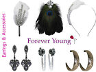 Ladies Fashion Accessory Earrings Hairband Brooch Black Diamante Peacock Feather