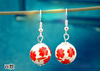 Bone china porcelain bead ball earrings multiple patterns