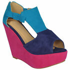 NEW WOMEN'S MULTI COLOUR  PEEP TOE CONTRAST COLOUR WEDGES AVAILABLE IN SIZE 3-8