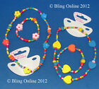 CHILDS HEARTS FLOWER BEADS CHILDRENS NECKLACE BRACELET SET STRETCHY PARTY BAGS