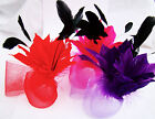 New Double Fluted Feather Flower Black Spray Large Net Loop Hair Fascinator Comb