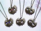 ANTIQUE BRONZE OWLS FACE NECKLACE..5 EYE COLOURS