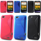 FOR HTC ONE V STYLISH S LINE WAVE SERIES GEL SKIN CASE COVER + SCREEN PROTECTOR