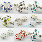 10pcs/20pcs Silver Plated Crystal Nice Spacer Beads 8 Colors M3509 Free Ship