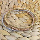 White Yellow Pink Gold over Sterling Silver Flexible Mesh Bangle Beads Bracelet