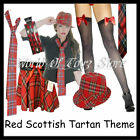 Ladies Red Scottish Tartan Themed Fancy Dress Costume & Accessories