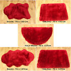 NEW SOFT FLUFFY  PLAIN WASHABLE RED COLOUR BEST FAUX FUR SHEEP SKIN RUGS