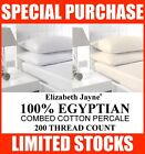 ELIZABETH JAYNE 100% EGYPTIAN COMBED COTTON PERCALE FITTED SHEETS 200 THREAD CNT