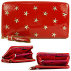 Ladies Womens Red Designer Star Stud Studded Zip Purse Hand Clutch Bag Wallet