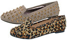 WOMENS STUDDED FAUX SUEDE SLIPPERS LOAFERS BALLET PUMPS FLATS SHOES LADIES 3-8