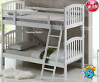 White Wooden Bunk Bed And Mattresses - Cosmos Solid Wood Bunks - New Kids Bunks