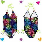 NWT Justice Girls BLACK & NEON Peace Heart Medallion One Piece Swimsuit Sz 6 & 7