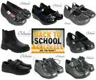 KIDS BOYS GIRLS CHILDRENS BLACK FORMAL LEATHER SCHOOL SHOES LACES VELCO STRAPS