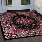 TRADITIONAL BORDER MEDALLION PERSIAN BLACK AREA RUG ORIENTAL MULTI-COLOR CARPET