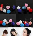 Wholesale Jewellery Lots Mixed 36Pairs Acrylic Ball Heart Flower Earrings Studs