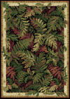 BLACK OLIVE GREEN BORDERED TROPICAL AREA RUG FERNS LEAVES LEAF FLORAL CARPET
