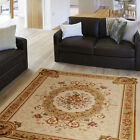 BURGUNDY SAND BEIGE BORDER ROSE TRADITIONAL AREA RUG EUROPEAN MEDALLION CARPET