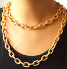 "Newest Dot Style Shiny Gold Plated Chunky Aluminium Curb Chain Necklace 18"" 38"""