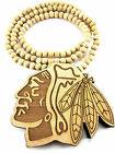 Wooden CHICAGO BLACKHAWKS Pendant Piece Chain Necklace Good Wood Indian American $11.95 USD on eBay