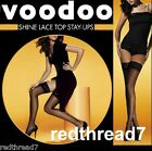 Voodoo New Shine Stay Ups Lace Top Sheer Stockings Nude White Black  Ave Tall X