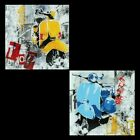 GLASBILDER DEKO WAND BILD DECO GLASS FLOAT GLAS VESPA MOFA CHOPPER MOTOR ROLLER