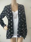 Ladies / Teenagers Cardigan Grey or Black with Hearts sizes 8 to 14