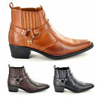 New Mens Gents Pointed Toe Slip On Cowboy Ankle Boots UK Sizes 6 7 8 9 10 11 12
