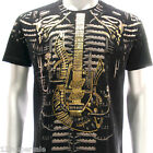 a1b2 M L XL XXL Artful T-shirt Tattoo Skull Guitar Music Heavy Metal Punk Street