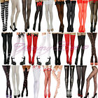 Fancy Dress Stockings Socks HoldUp Stripe Nurse Pirate Maid Red Black Pink White